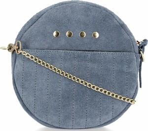 Niebieska torebka VITTORIA GOTTI w stylu retro średnia na ramię