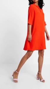 Pomarańczowa sukienka Kiomi mini koszulowa z długim rękawem