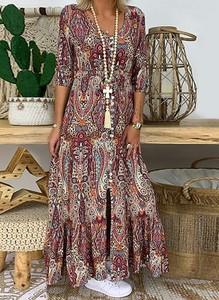 Sukienka Sandbella w stylu boho maxi z długim rękawem