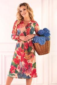 Sukienka MERRIBEL kopertowa midi z długim rękawem