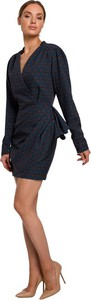 Niebieska sukienka MOE mini z tkaniny