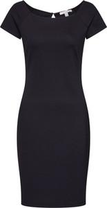 Czarna sukienka Esprit z krótkim rękawem w stylu casual z okrągłym dekoltem