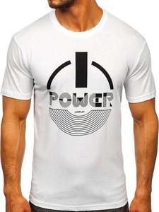 Turkusowy t-shirt Denley z bawełny z krótkim rękawem