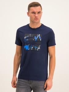 Granatowy t-shirt Lacoste z krótkim rękawem