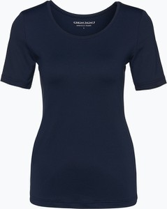 Granatowy t-shirt Apriori z krótkim rękawem w młodzieżowym stylu z okrągłym dekoltem