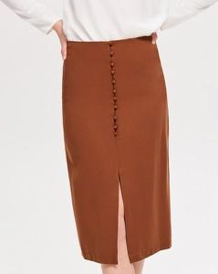 Brązowa spódnica Reserved midi w stylu retro