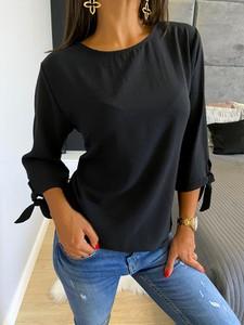 Czarna koszula ModnaKiecka.pl z okrągłym dekoltem w stylu casual