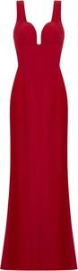 Czerwona sukienka Alexander McQueen z jedwabiu z dekoltem w kształcie litery v