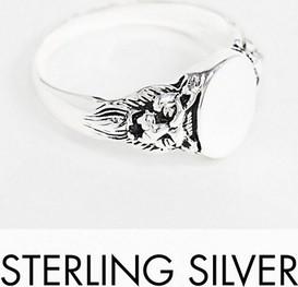 ASOS DESIGN – Sygnet ze srebra wysokiej próby z motywem lwa-Srebrny