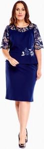Sukienka Inter Irex z okrągłym dekoltem z długim rękawem