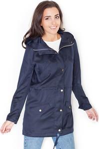 Niebieska kurtka Katrus długa w stylu casual