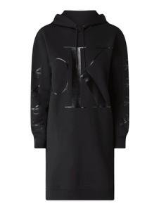 Czarna sukienka Calvin Klein z długim rękawem mini z dresówki