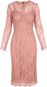 Różowa sukienka Dolce & Gabbana z długim rękawem