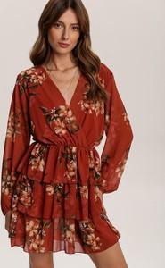 Sukienka Renee z dekoltem w kształcie litery v z długim rękawem mini