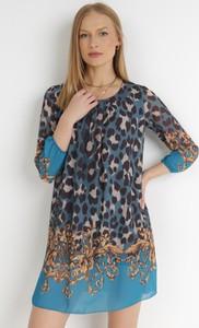 Sukienka born2be z okrągłym dekoltem mini z długim rękawem