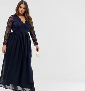 Granatowa sukienka Club L London Plus z długim rękawem z dekoltem w kształcie litery v