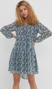Niebieska sukienka House z okrągłym dekoltem w stylu casual mini