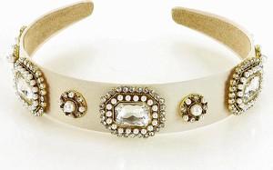 Gk-Style Biżuteryjna opaska na włosy diadem tiara jasny beż MAZZINI
