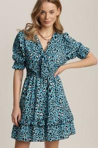 Niebieska sukienka Renee w stylu casual z krótkim rękawem mini