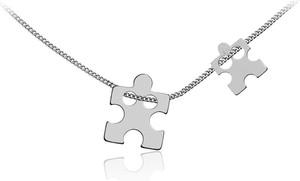 Lian Art Srebrny naszyjnik dwa Puzzle - puzzel - rodowany gd30