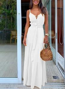 Sukienka Sandbella z dekoltem w kształcie litery v maxi