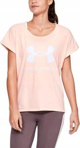 Różowy t-shirt Under Armour z okrągłym dekoltem w sportowym stylu z bawełny