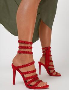 Czerwone sandały Renee w stylu casual na szpilce