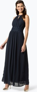 Granatowa sukienka Vila z szyfonu z dekoltem halter