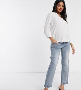 Mama Licious Mamalicious – Maternity – Jasnoniebieskie jeansy mom z efektem sprania