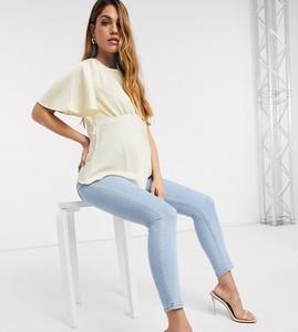 ASOS DESIGN Maternity – Ridley – Jasnoniebieskie obcisłe jeansy z wysokim stanem i paskiem zasłaniającym brzuch