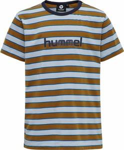 Brązowa koszulka dziecięca Hummel dla chłopców w paseczki z krótkim rękawem