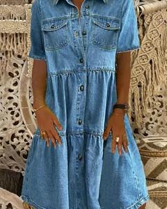 Niebieska sukienka Kendallme mini szmizjerka