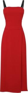 Czerwona sukienka Dolce & Gabbana na ramiączkach maxi z dekoltem w kształcie litery v