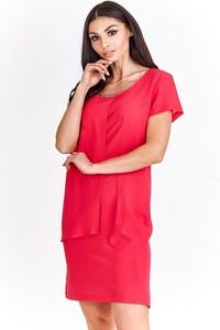 Różowa sukienka Fokus dopasowana z krótkim rękawem w stylu klasycznym