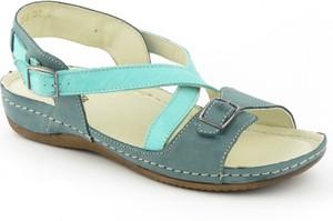 Niebieskie sandały Helios w stylu casual na niskim obcasie