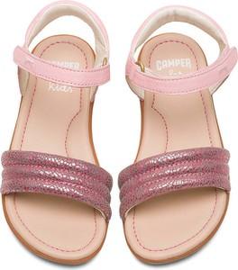 Różowe buty dziecięce letnie Camper na rzepy dla dziewczynek ze skóry