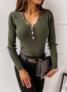 Bluzka Sandbella w militarnym stylu z długim rękawem