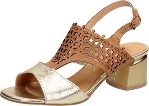 Złote sandały Suzana ze skóry na średnim obcasie z klamrami