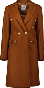 Brązowy płaszcz Lavard z wełny w stylu casual