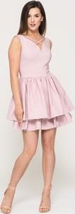 Różowa sukienka VISSAVI bez rękawów mini rozkloszowana