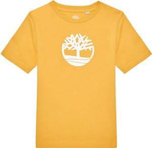 Żółta koszulka dziecięca Timberland z krótkim rękawem z jeansu dla chłopców