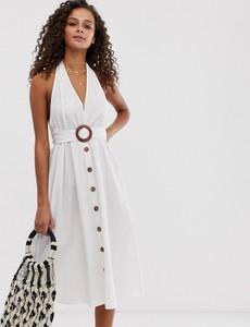 Sukienka Asos Design bez rękawów z lnu z dekoltem halter