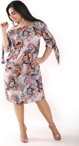 Sukienka Oscar Fashion hiszpanka midi z długim rękawem