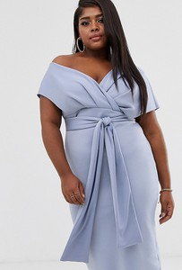 Niebieska sukienka Asos ołówkowa midi z krótkim rękawem