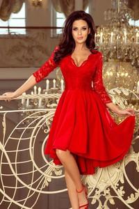 Czerwona sukienka NUMOCO midi z dekoltem w kształcie litery v asymetryczna