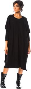 Sukienka So Cachemire dla puszystych z kaszmiru z długim rękawem