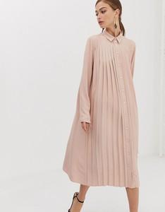 Różowa sukienka Asos maxi koszulowa