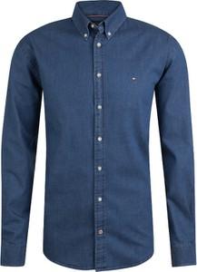 Niebieska koszula Tommy Hilfiger z kołnierzykiem button down z bawełny z długim rękawem