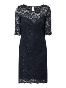 Granatowa sukienka Guess z okrągłym dekoltem z długim rękawem w stylu glamour