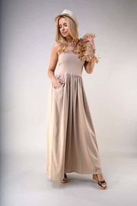 Sukienka Nommo z odkrytymi ramionami z bawełny bez rękawów